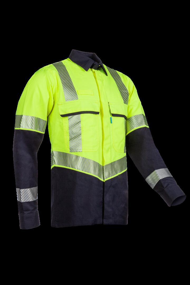 Sioen Shirts Colne Multinorm- ARC fluo geel-marineblauw