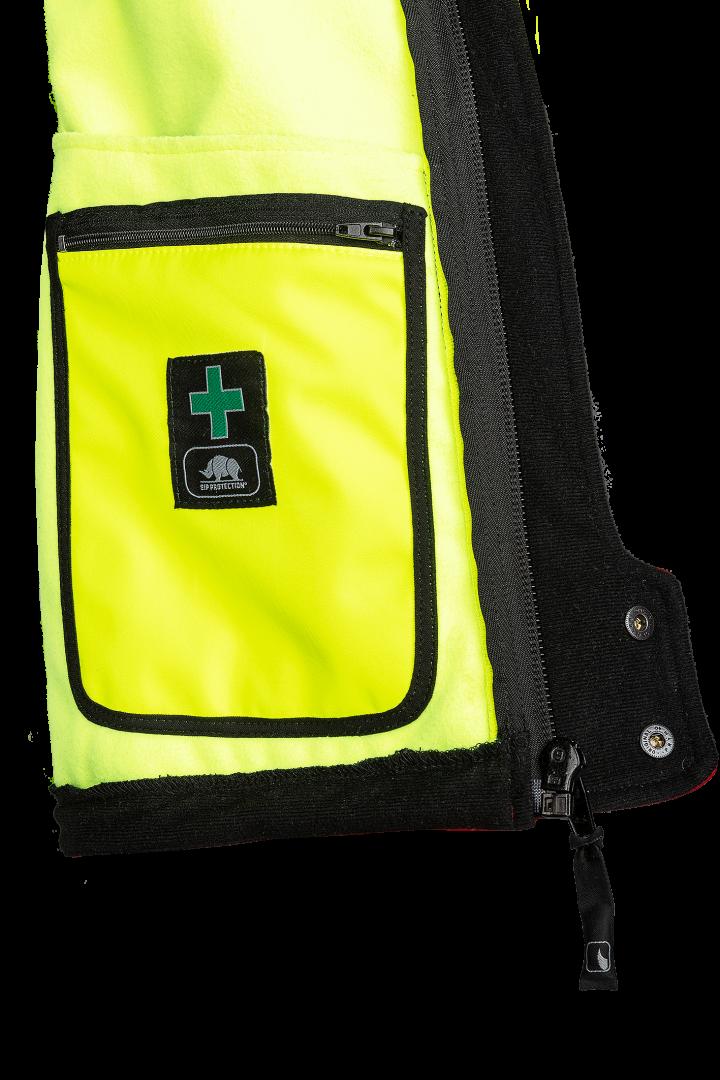 1 opgezette EHBO zak met ritssluiting aan de linkerzijde