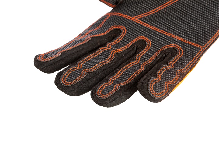 Rubber anti-skid reinforcement in the palm and fingers of both hands and synthetic leather reinforcement on top of the hands