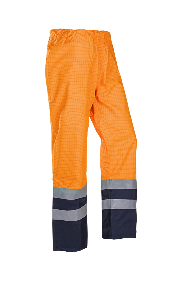 Sioen Regenbroeken Tielson  fluo oranje-donkerblauw