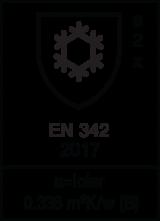 EN 342 : 2017 / lcler=0,338 m² K/W (B) Class 2 x