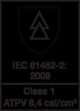 IEC 61482-2 : 2009 class 1 - ATPV 8.4 cal/cm²