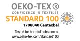 Tested for harmful substances according to Oeko-Tex® Standard 100 (1708040/Centexbel)