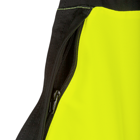 Front bib with pocket and vertical zipper on the right hand side