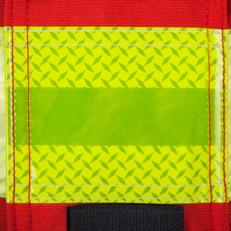 Vlam vertragende reflecterend en zeer zichtbare strepen (72 mm & 50 mm), dubbel gestikt