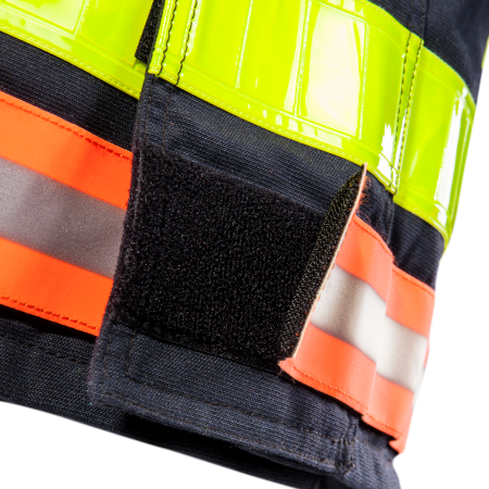 Flame retardant reflective & hi-vis striping (50mm) + detachable tape below jacket by touch and close fastening