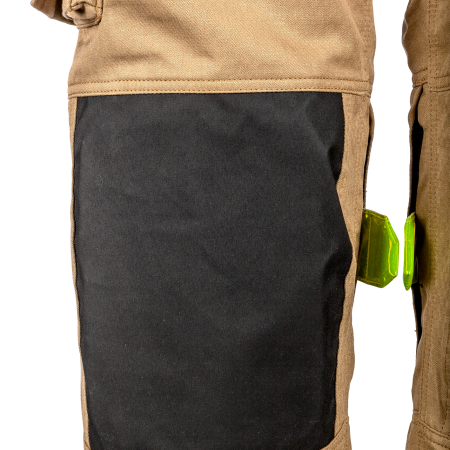 Knees reinforced with foam and coated and cut resistant Kevlar<sup>®</sup>