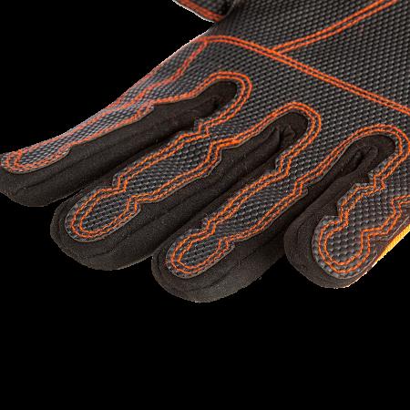 Gummierte Anti-Rutsch-Bereiche in der Innenhand und an den Fingern und Kunstleder Verstärkungen auf der Oberhand
