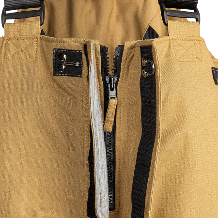 Front fly with zip closure under double flap with touch and close fastening and hook
