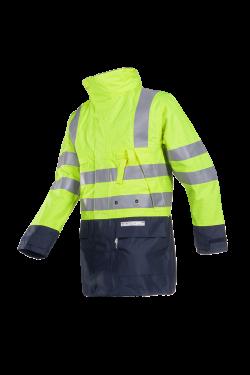 Sioen Regenparka Winseler Multinorm Inrits-systeem fluo geel-donkerblauw