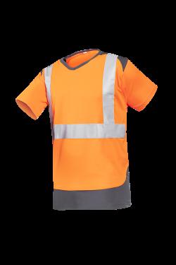 Sioen T-shirts Cortic fluo oranje-antracietgrijs