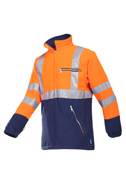 Sioen Fleece jassen Kingley High Vis Inritsbaar fluo oranje-marine